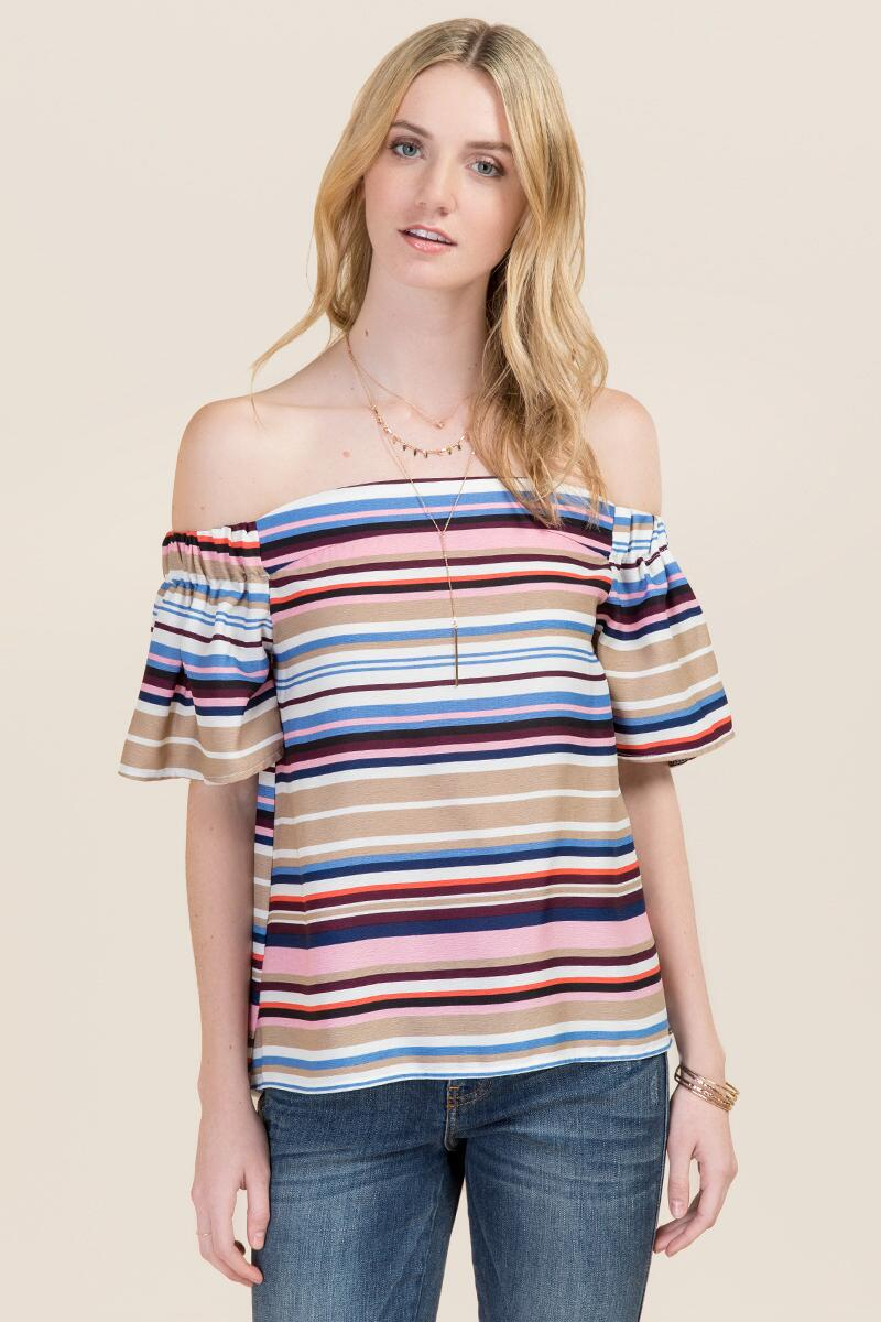 Hazel Off the Shoulder Multi Striped Top