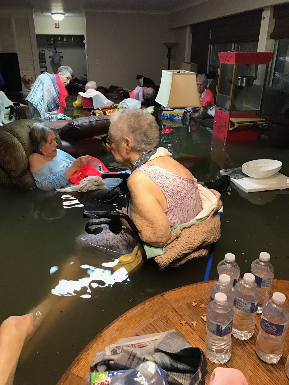 Residents of La Vita Bella nursing home in Dickinson, Texas were trapped due to severe flooding from Hurricane Harvey on Aug. 27.