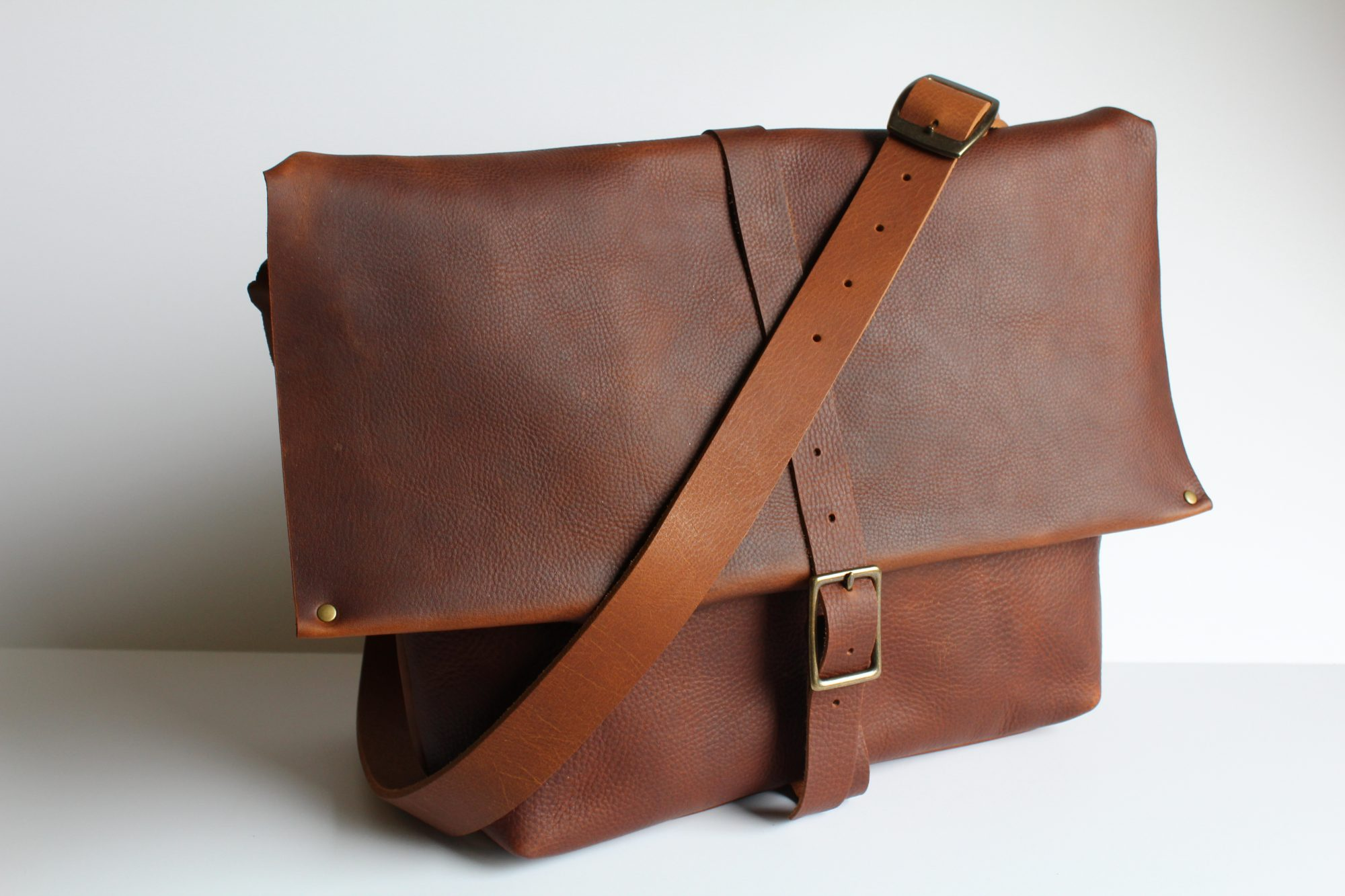In Blue Handmade Clark Street Leather Messenger Bag
