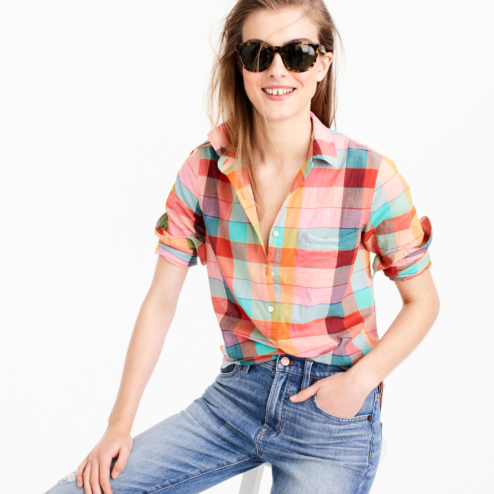 Jcrew Lightweight Popover in Rainbow Vintage Plaid