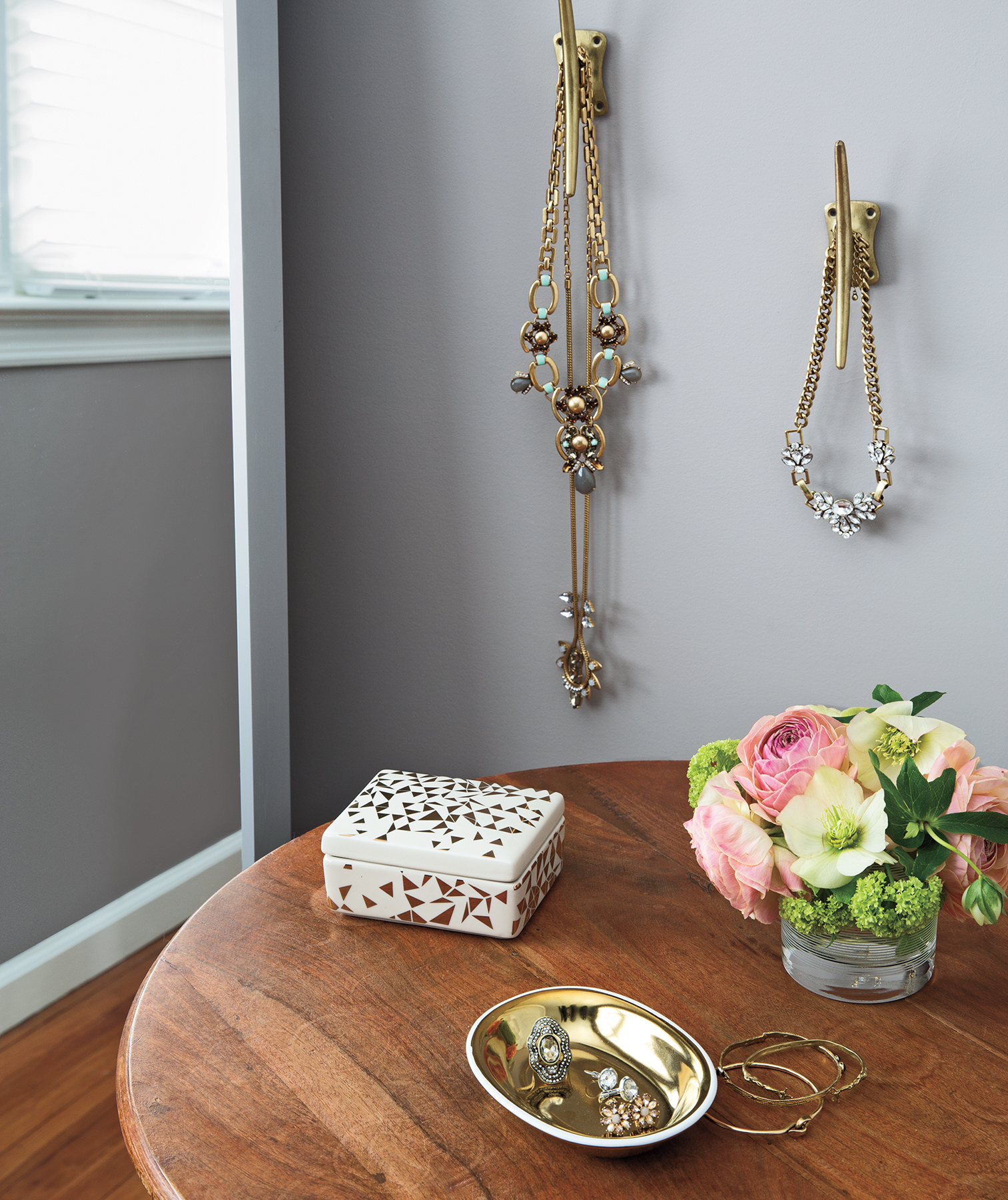 Jewelry and accessories on hooks