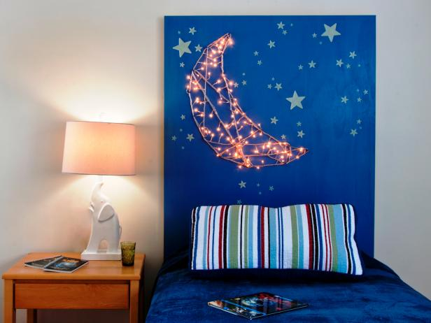 12 Ways to Use Your Christmas Lights in the Summer DIY Light Up Moon Headboard