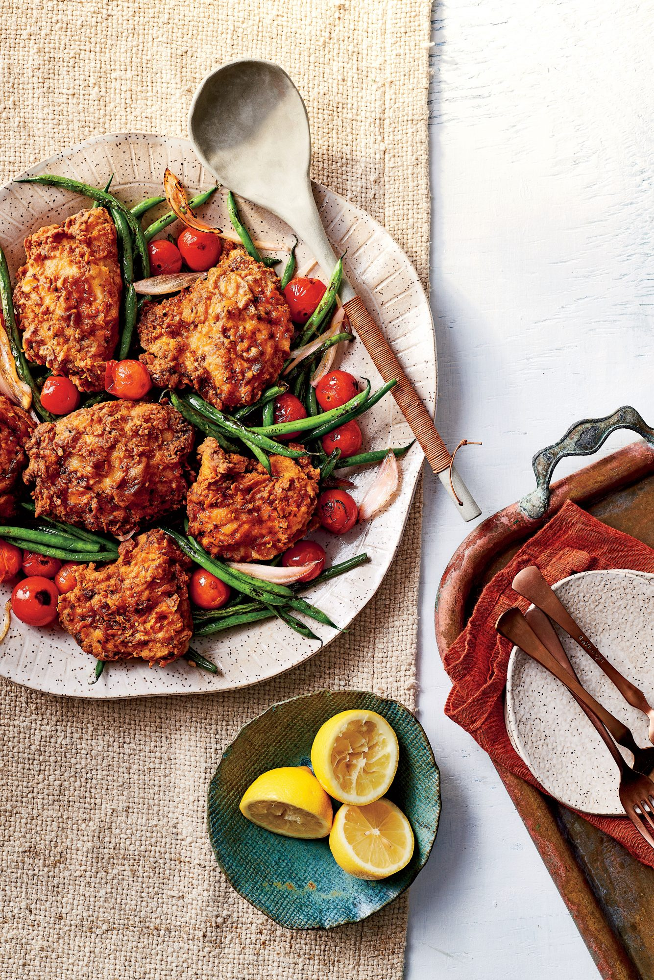 Lighter Pan-Fried Chicken with Green Beans and Tomatoes