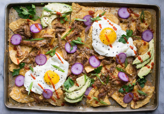 Loaded Pulled Pork Sheet Pan Nachos