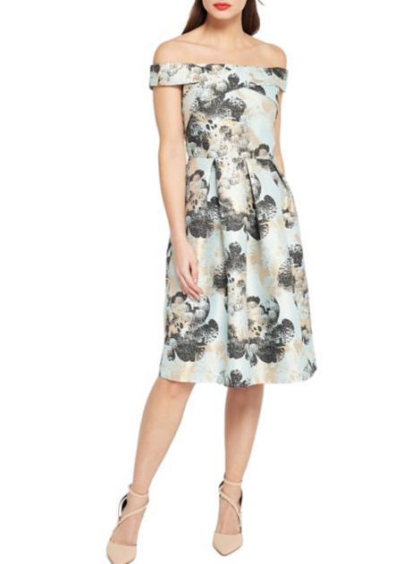 Bridesmaid Dresses in Gorgeous Florals Lord & Taylor Miss Selfridge Jacquard Bardot Fit-and-Flare Dress