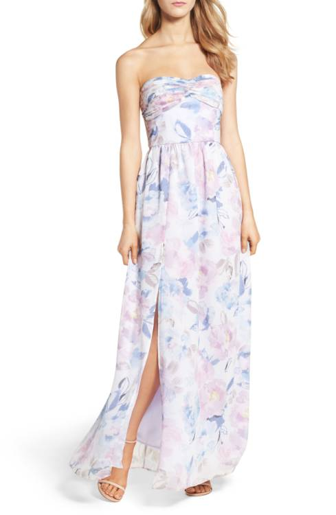Nordstrom Floral Strapless Gown