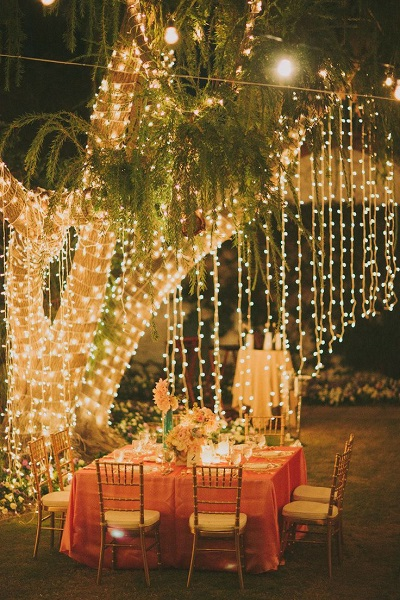 12 Ways to Use Your Christmas Lights in the Summer Outdoor Wedding Reception