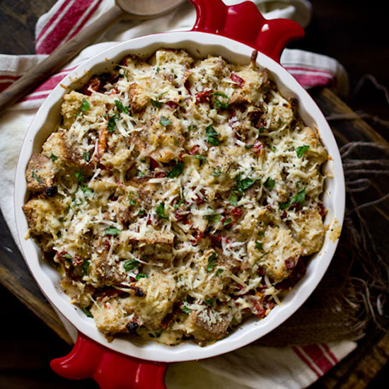 Savory Bread Pudding with Sausage and Gouda