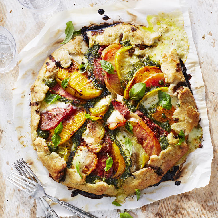 Pesto Caprese Galette with Balsamic Reduction image
