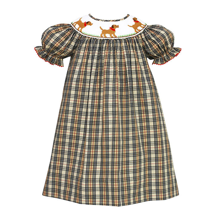 Plaid Smocked Labrador Dogs Bishop Dress