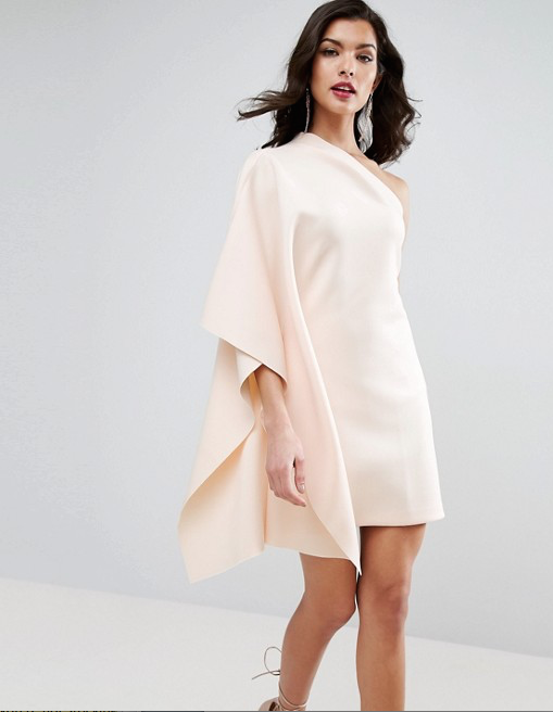 One Shoulder Cape Dress