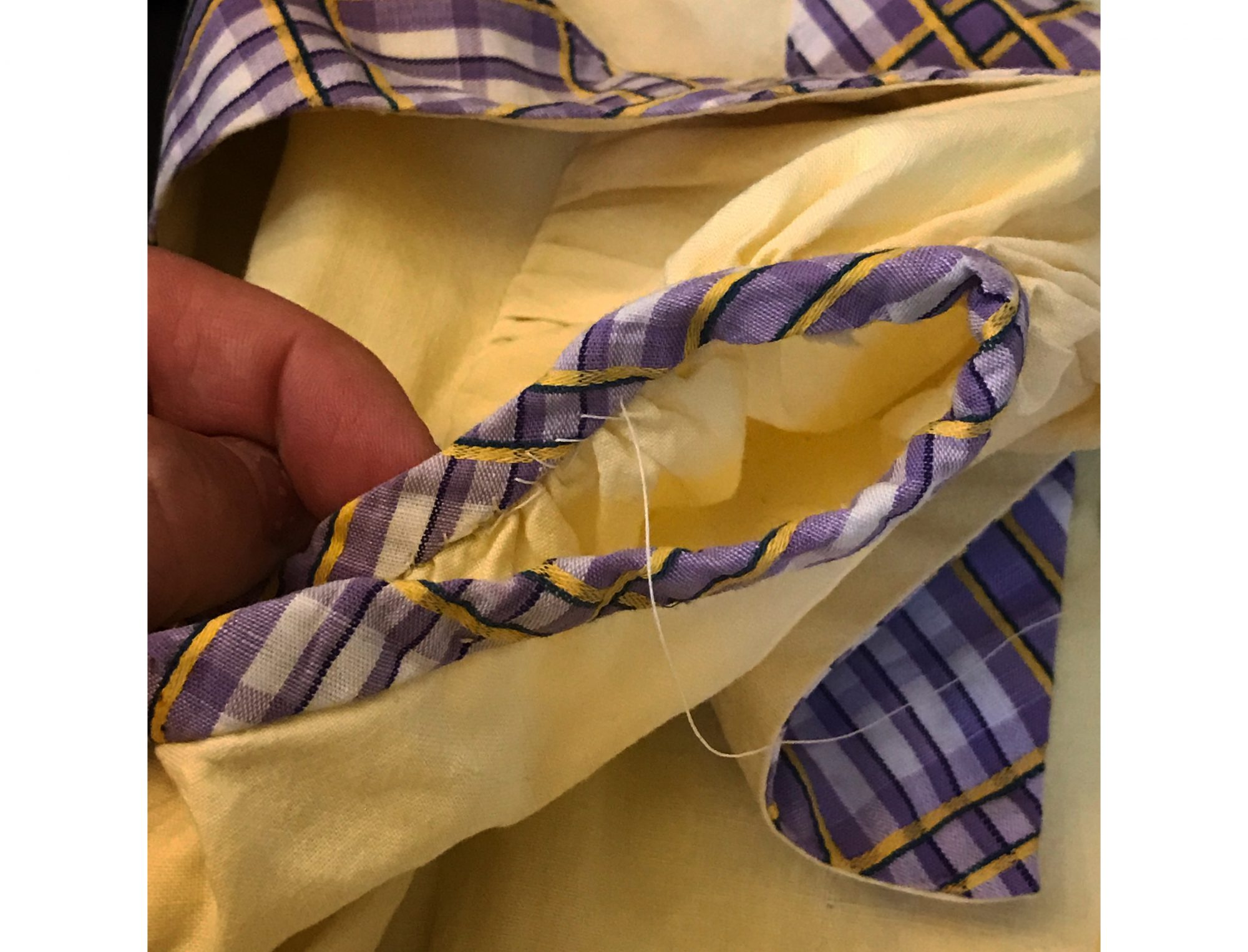 Sewing Purple and Yellow Heirloom Dress