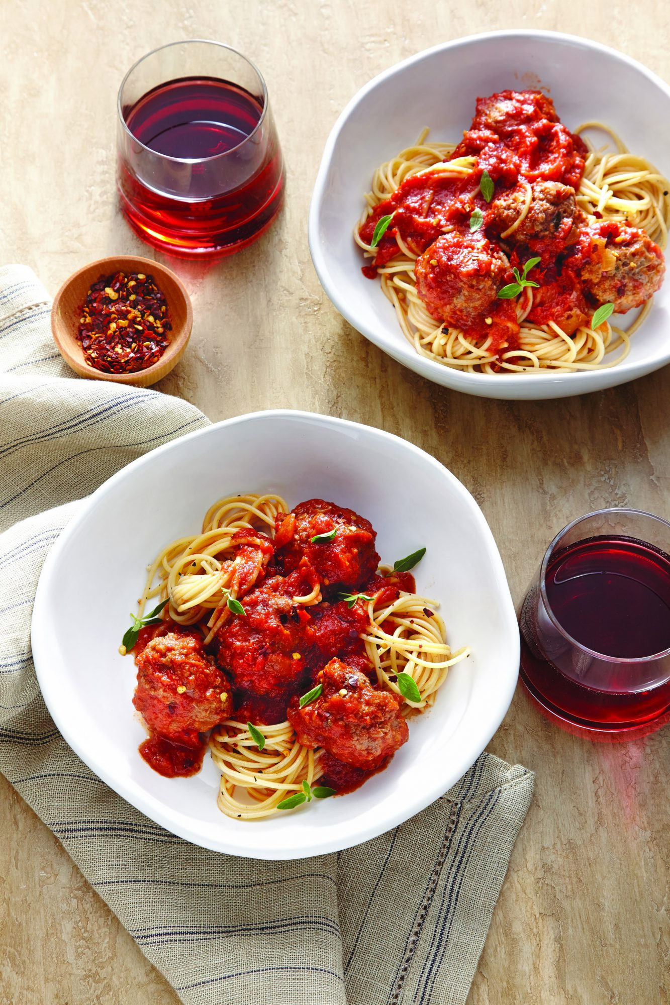 Spaghetti and Meatballs with Red Wine