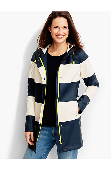 Striped Hooded Raincoat