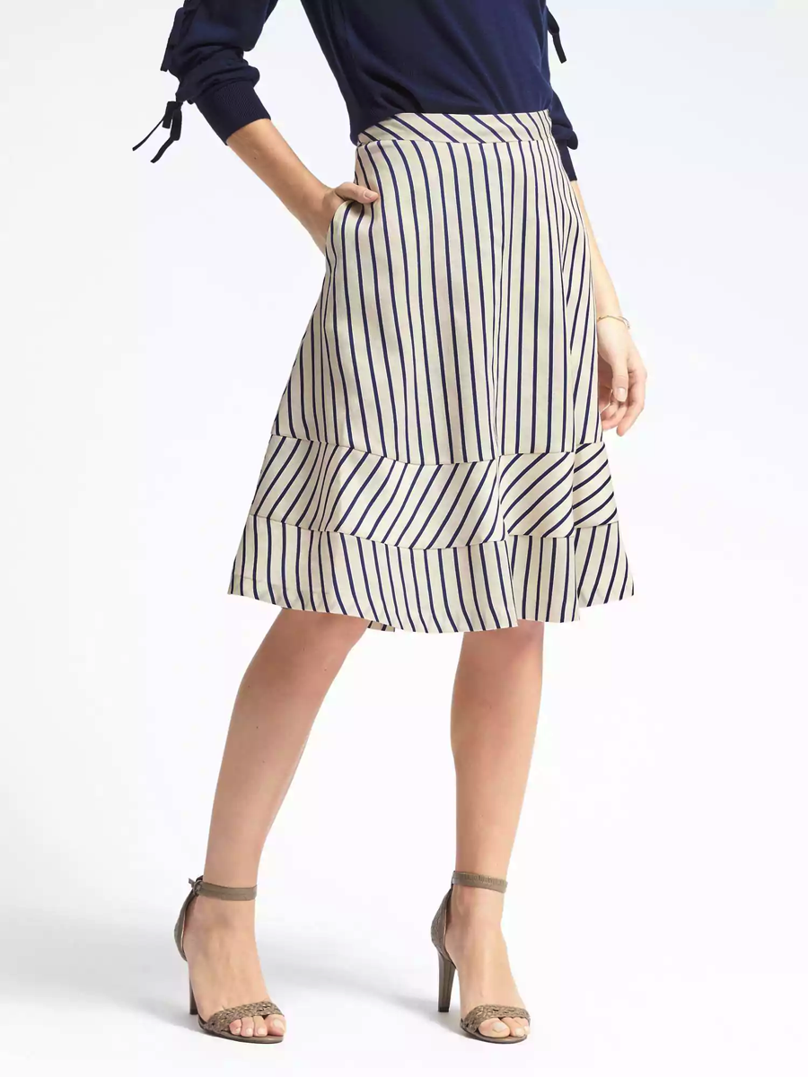 Stripe Twill Midi Skirt