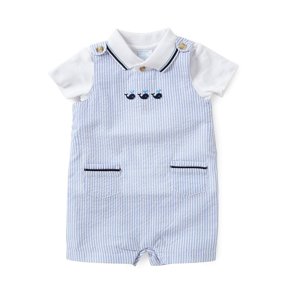 Edgehill Collection Polo Shirt & Whale-Embroidered Striped Seersucker Shortall Set