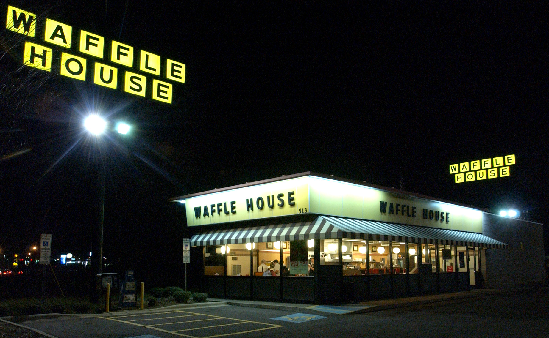 Waffle House Restaurant and Sign