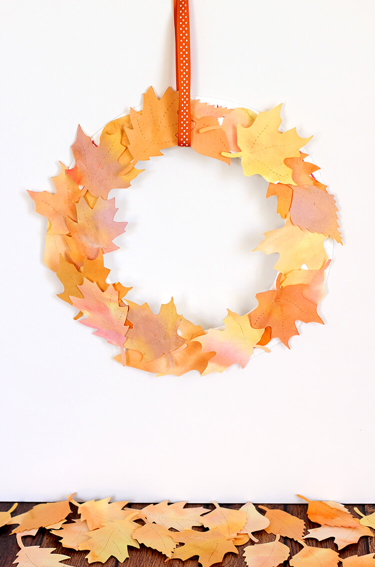 Watercolor Fall Leaf Wreath