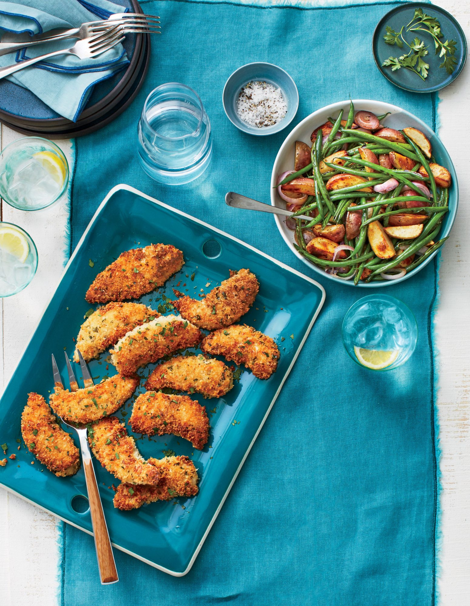 Buttermilk Chicken Tenders with Roasted Potatoes and Green Beans Recipe Southern Living