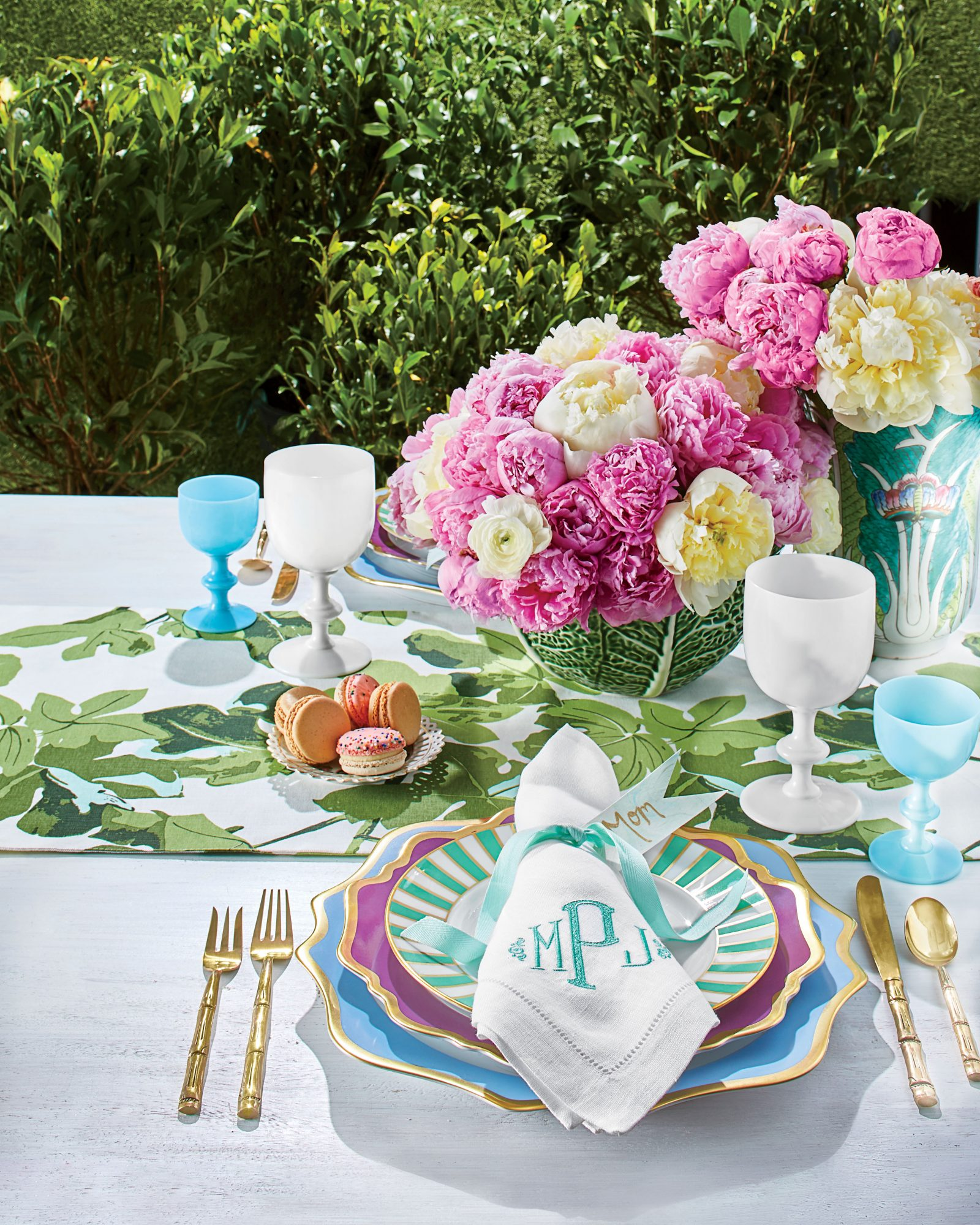 Garden Party Table Setting with Pink Peonies