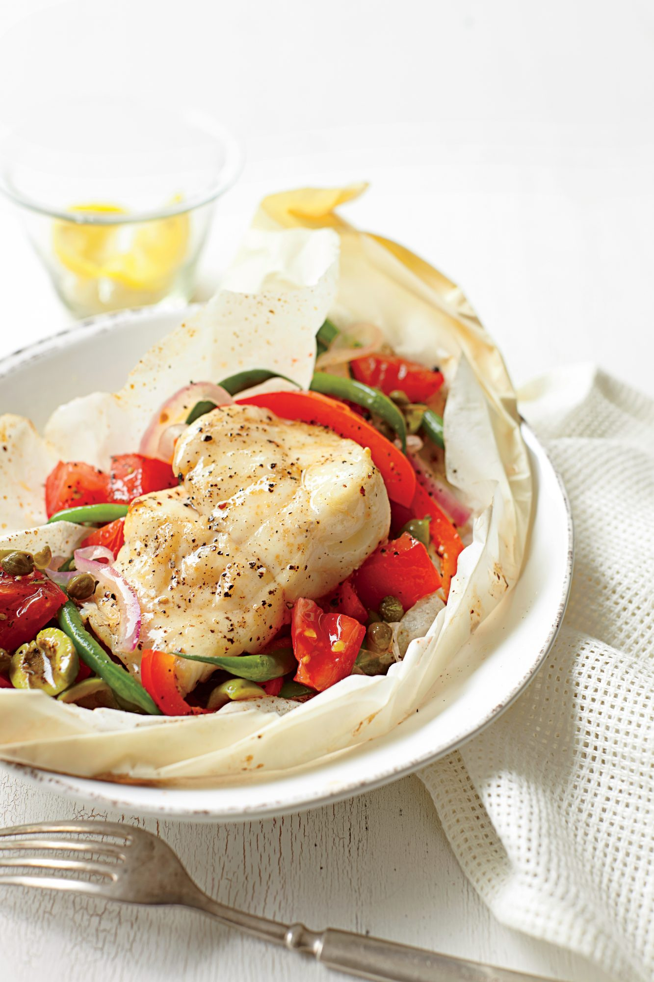 Parchment-Baked Fish and Tomatoes