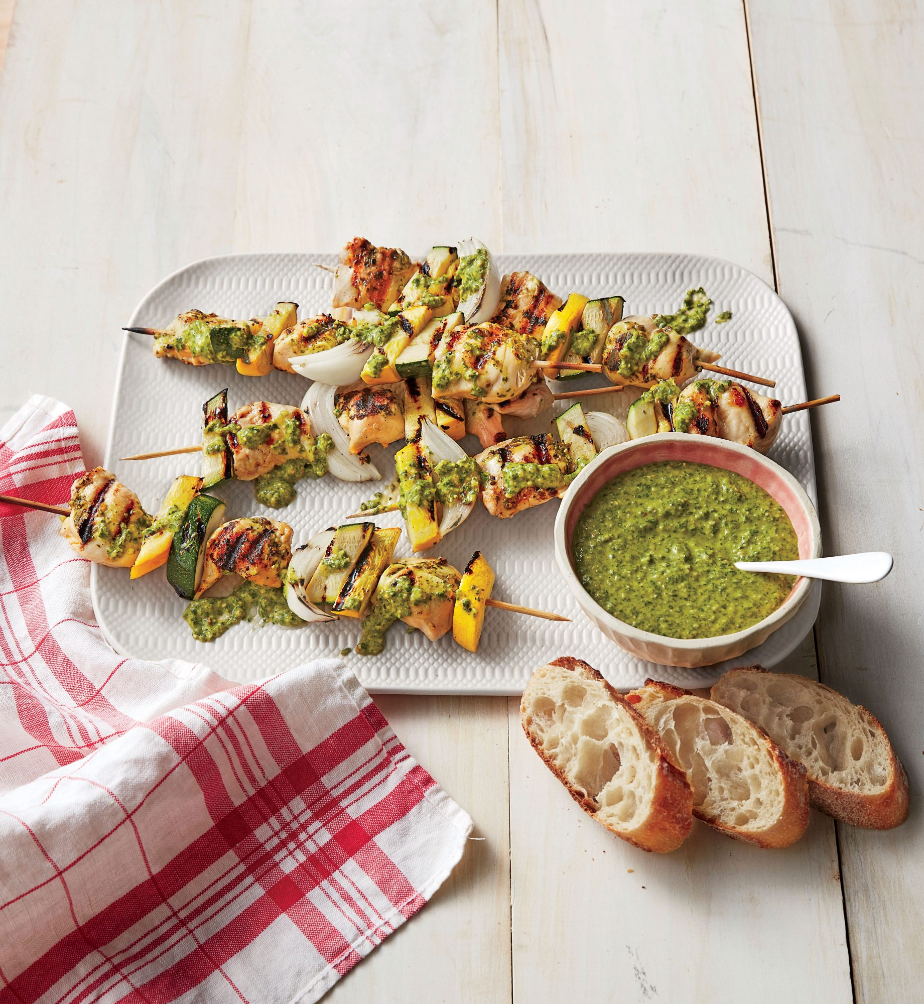 Grilled Chicken Kebabs with Arugula Pesto