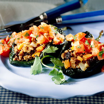 Poblanos Stuffed With Pork and Fruit