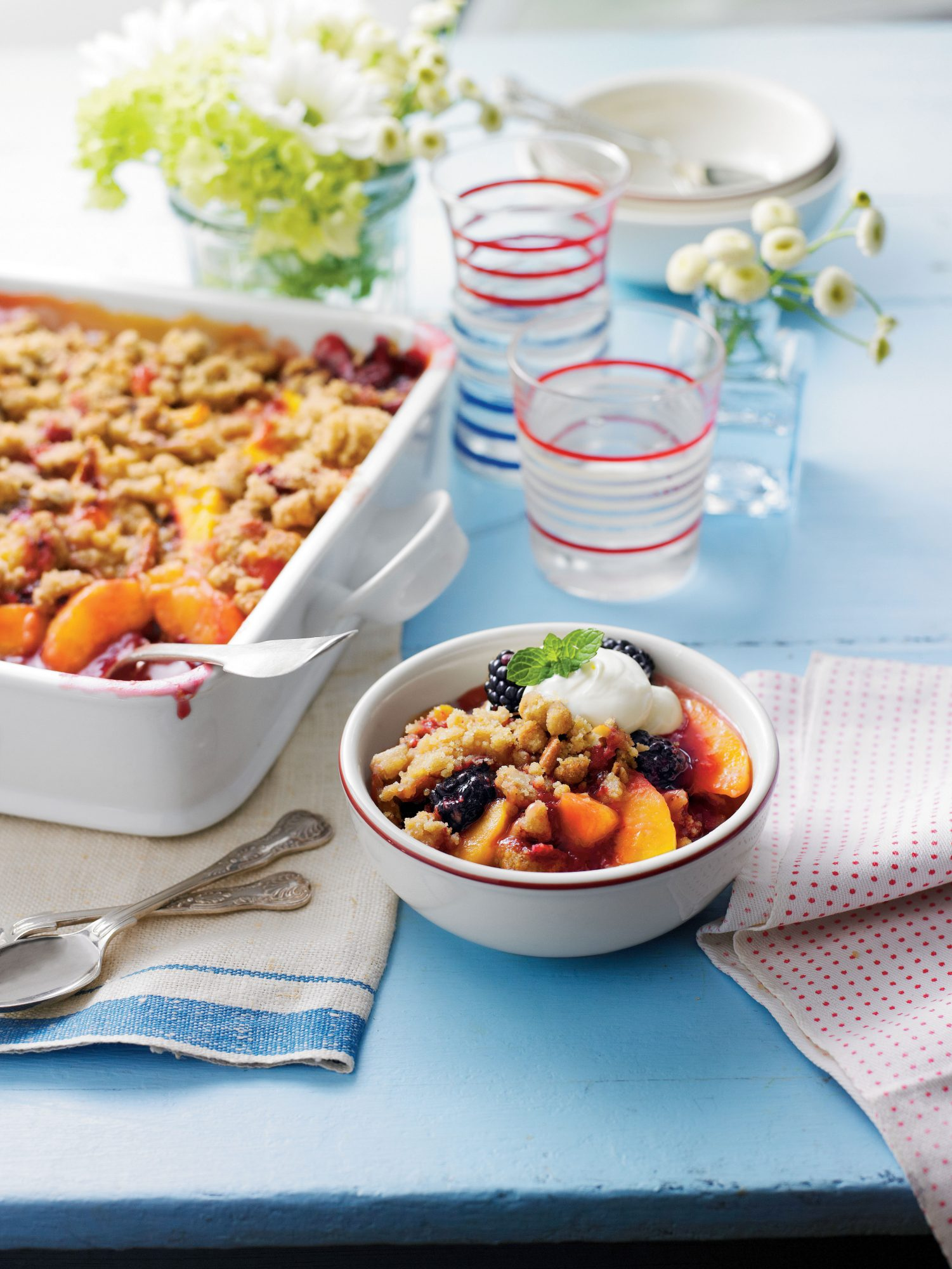 Blackberry-Peach Cobbler with Praline-Pecan Streusel Recipe