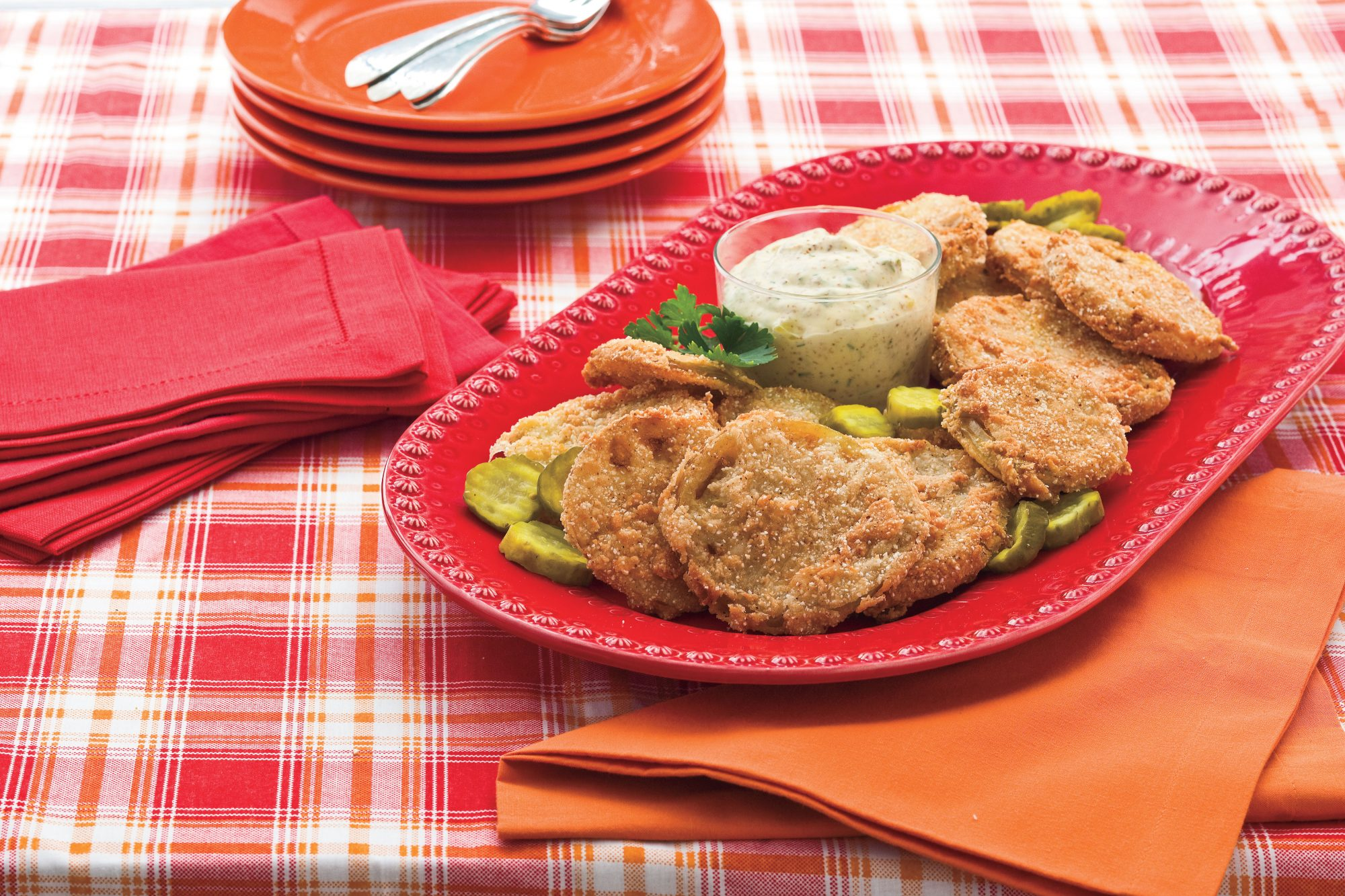 Fried Green Tomatoes With Bread-and-Butter Pickle Remoulade