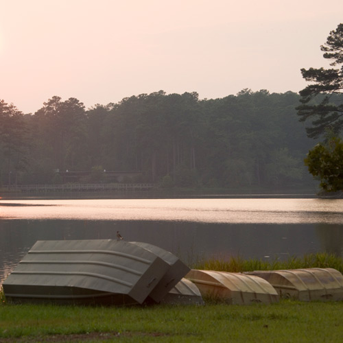 canoes on banks of lake martin