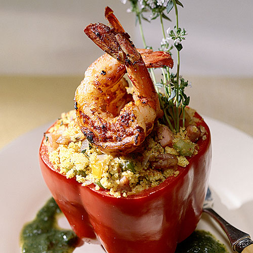 Barbecue Shrimp And Cornbread-Stuffed Peppers