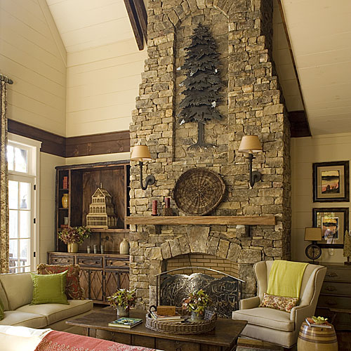 North Carolina Cottage Interiors: Fireplace