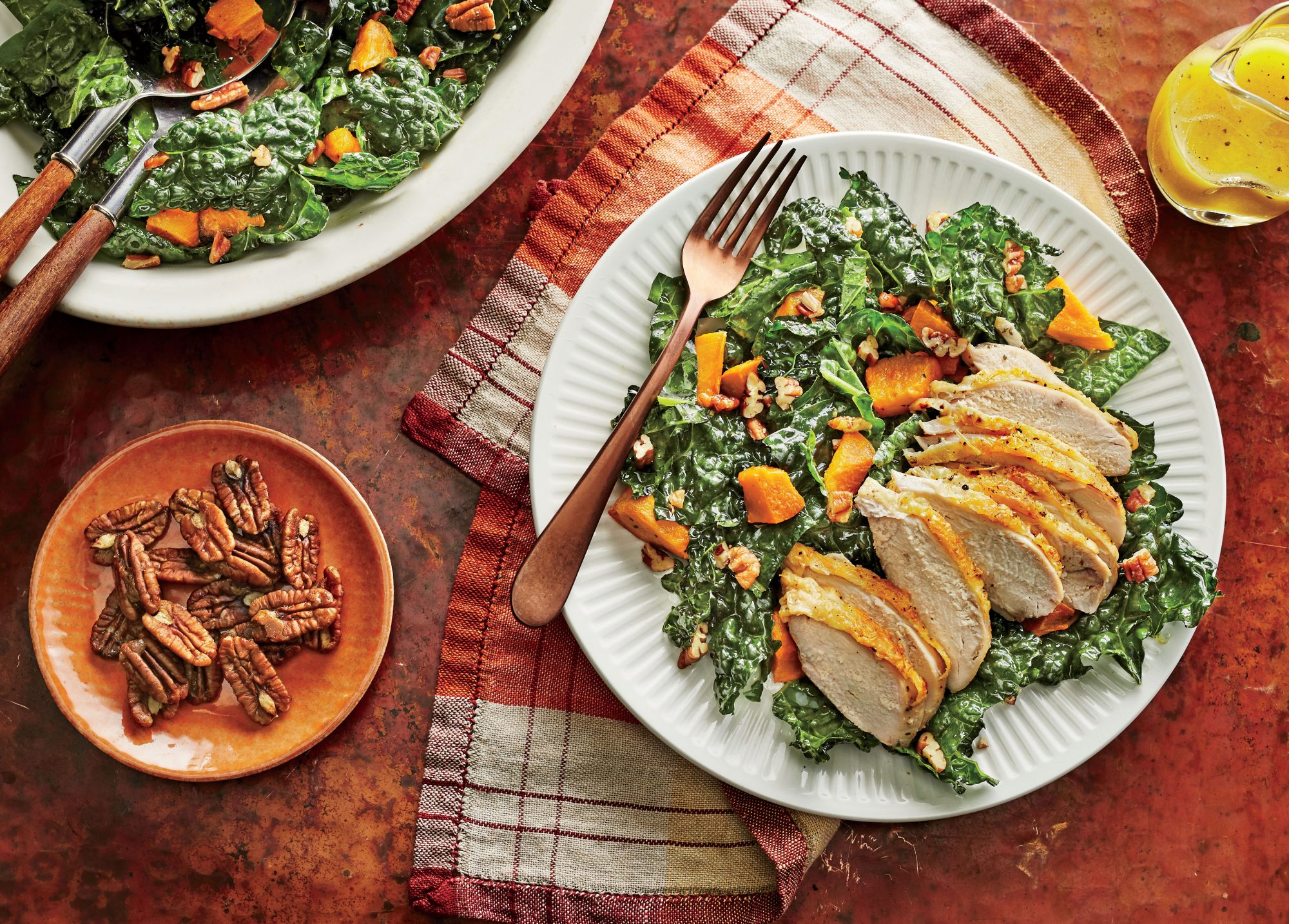 Kale and Sweet Potato Salad with Chicken