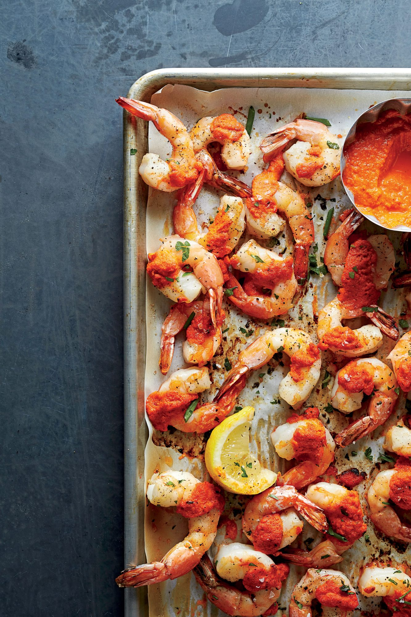 Roasted Gulf Shrimp with Romesco Sauce