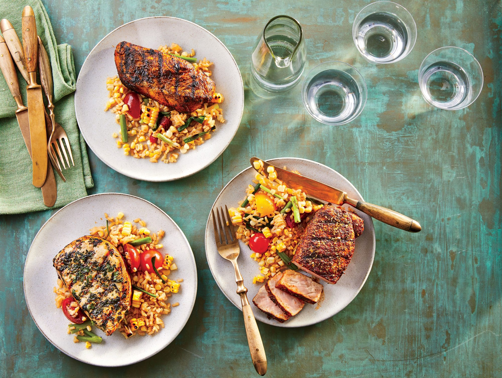 Grilled Spice-Rubbed Pork Chops with Scallion-Lime Rice Recipe Robin Bashinsky