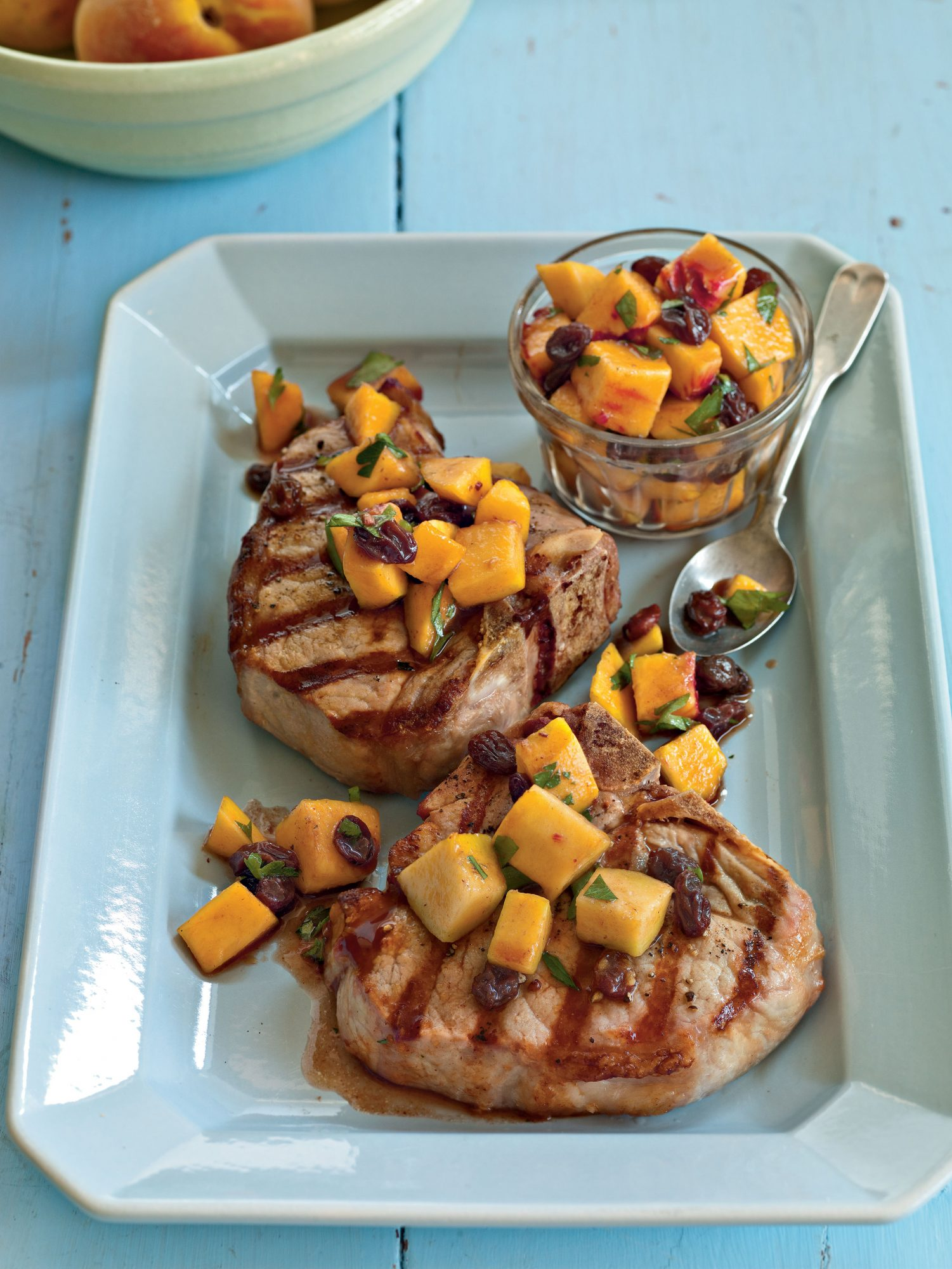 Grilled Pork Porterhouse with Peach Agrodolce
