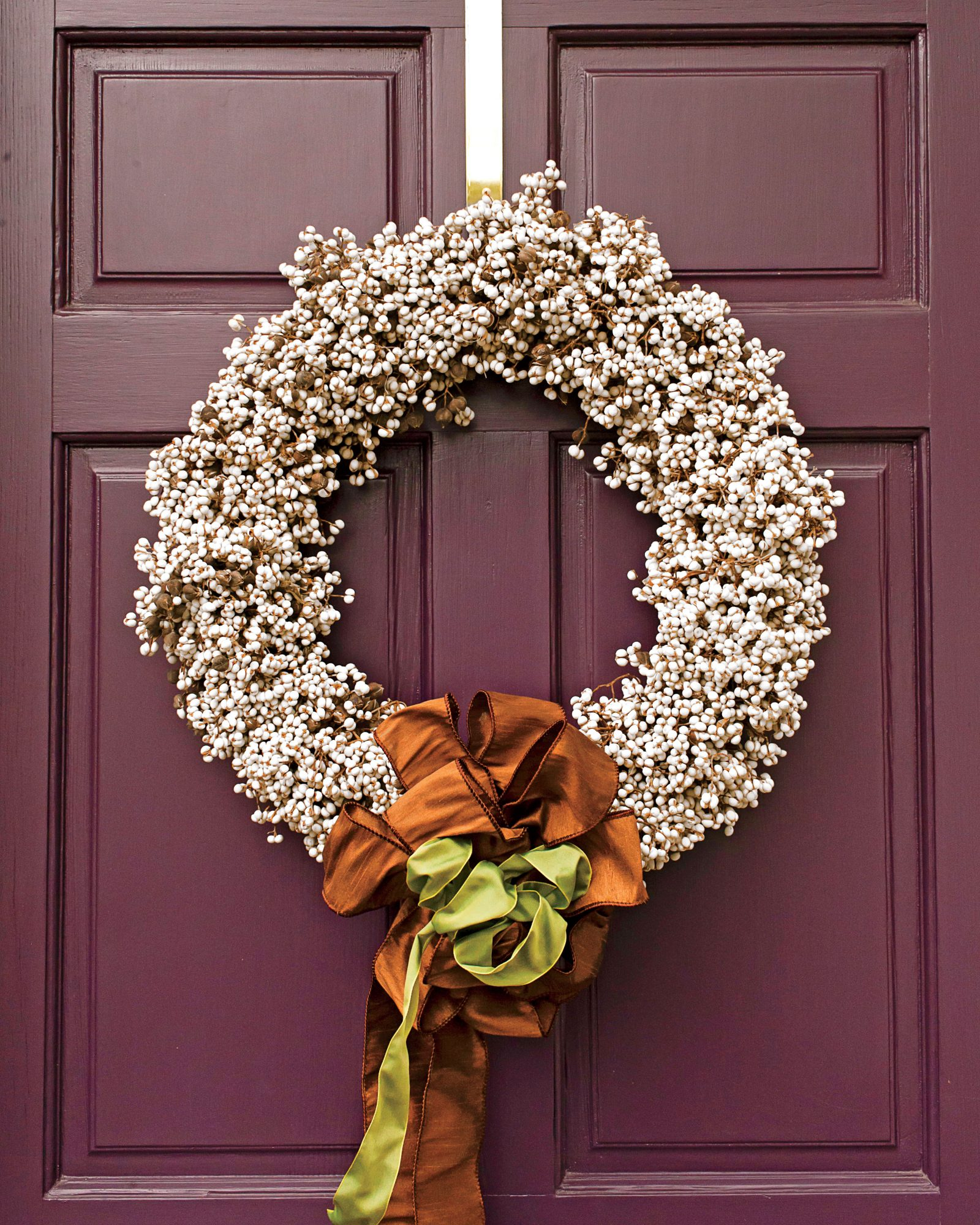 Purple Door with White Berry Wreath