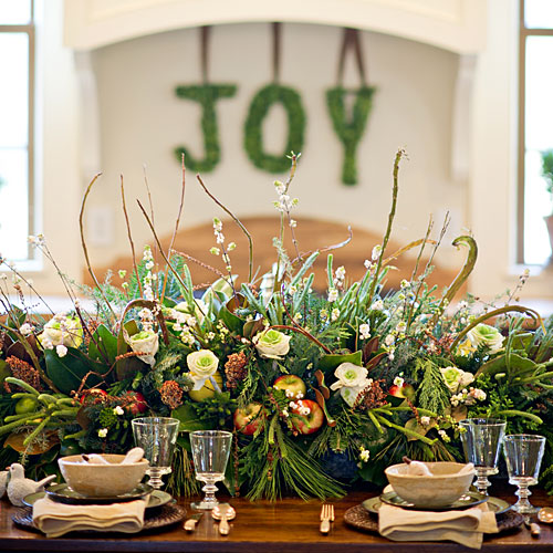 Fresh Greenery, Fruit, and Flower Centerpiece