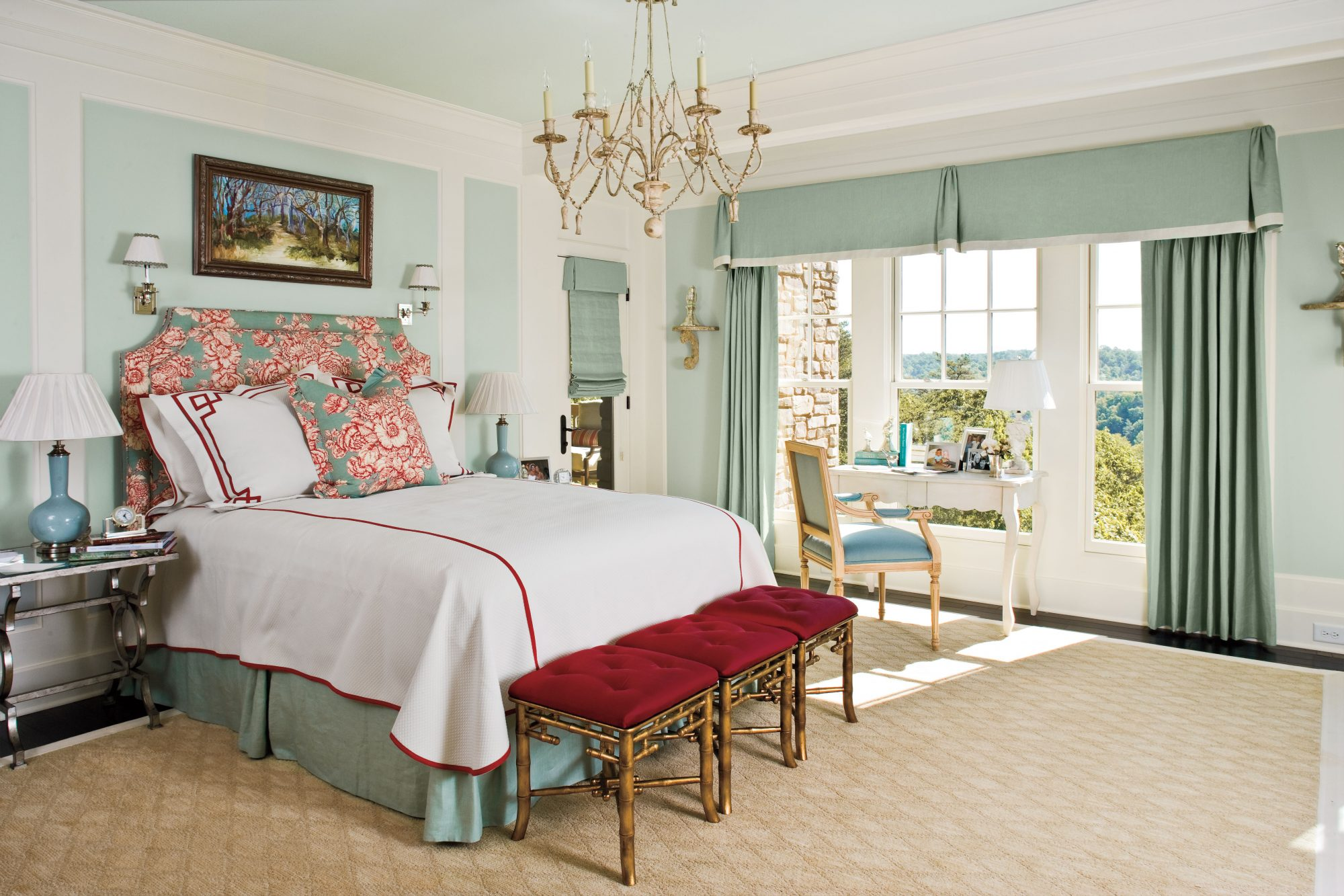 Blue and Cranberry Master Bedroom