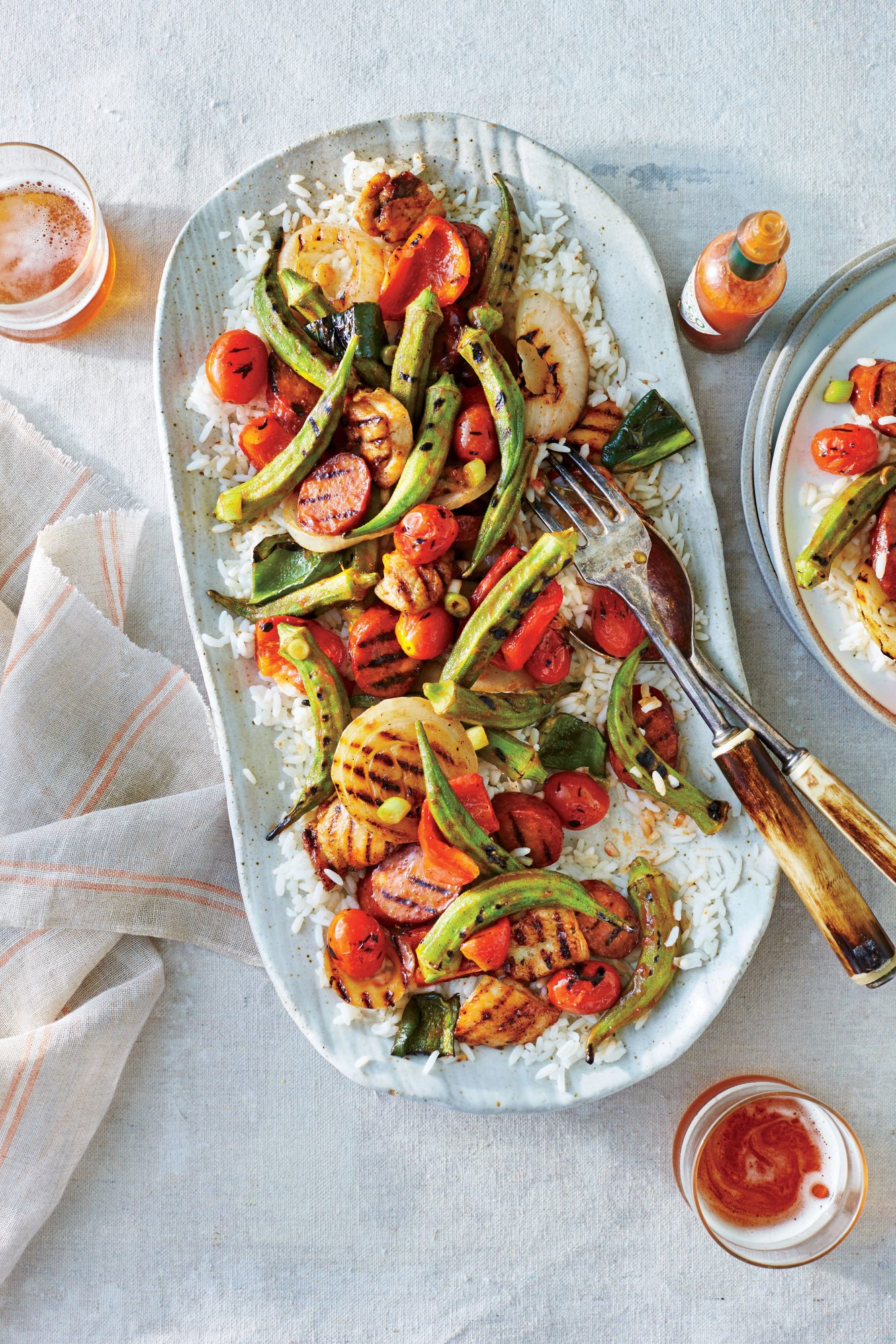 Grilled Creole Chicken and Okra