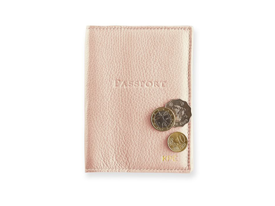 Monogrammed Leather Passport Case