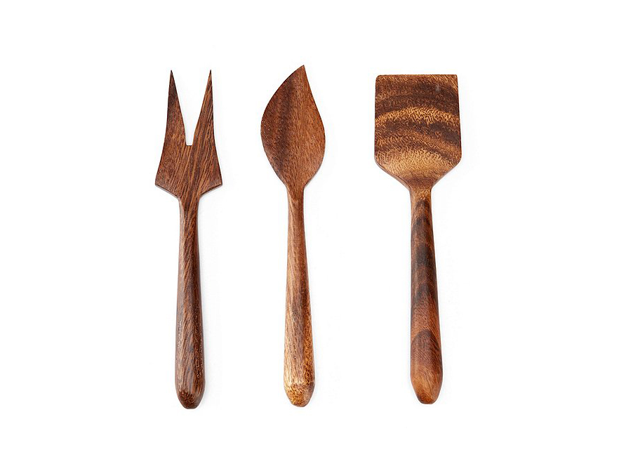 Acacia Wood 3-Piece Cheese Tool Set