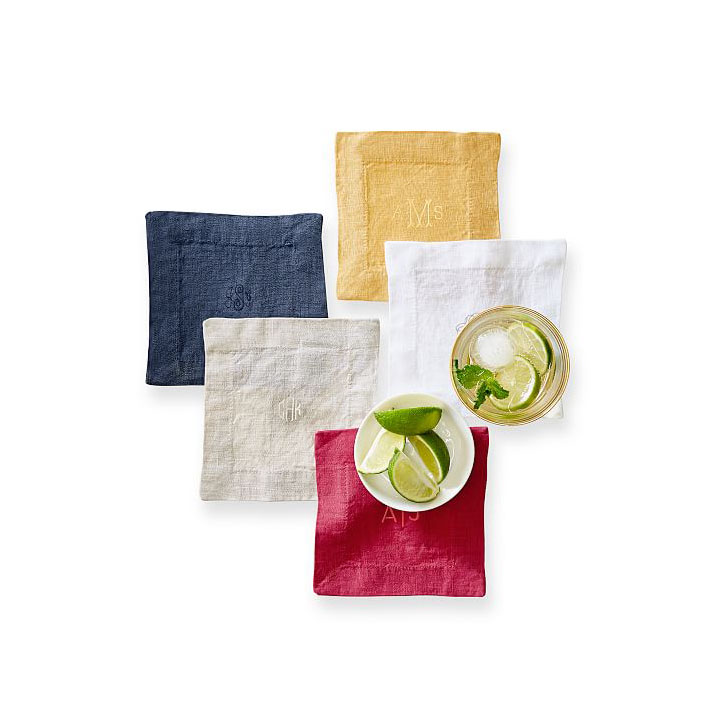 Mark and Graham Italian Washed Linen Coasters, Set of Four