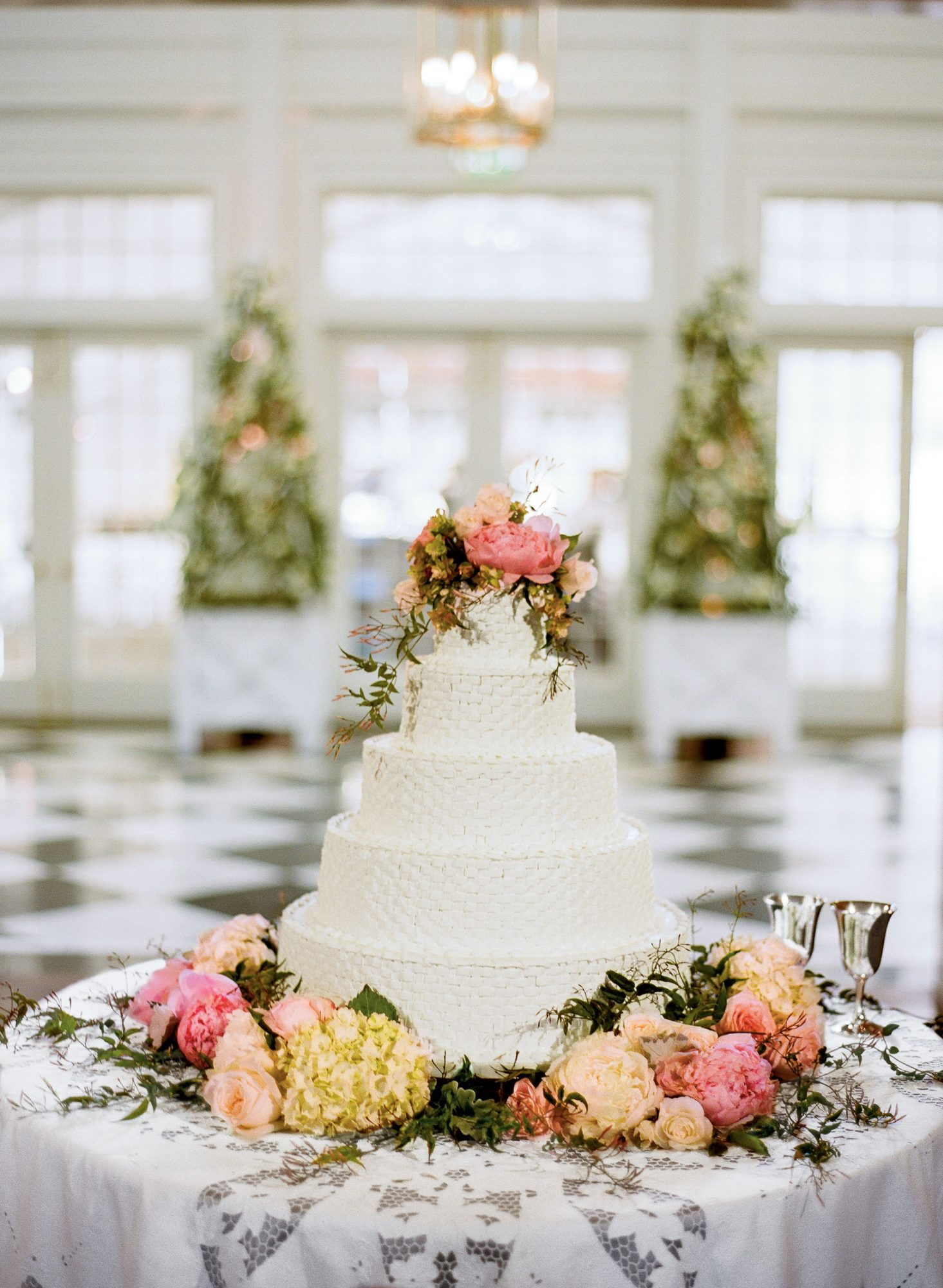 Basketweave Pattern Wedding Cake