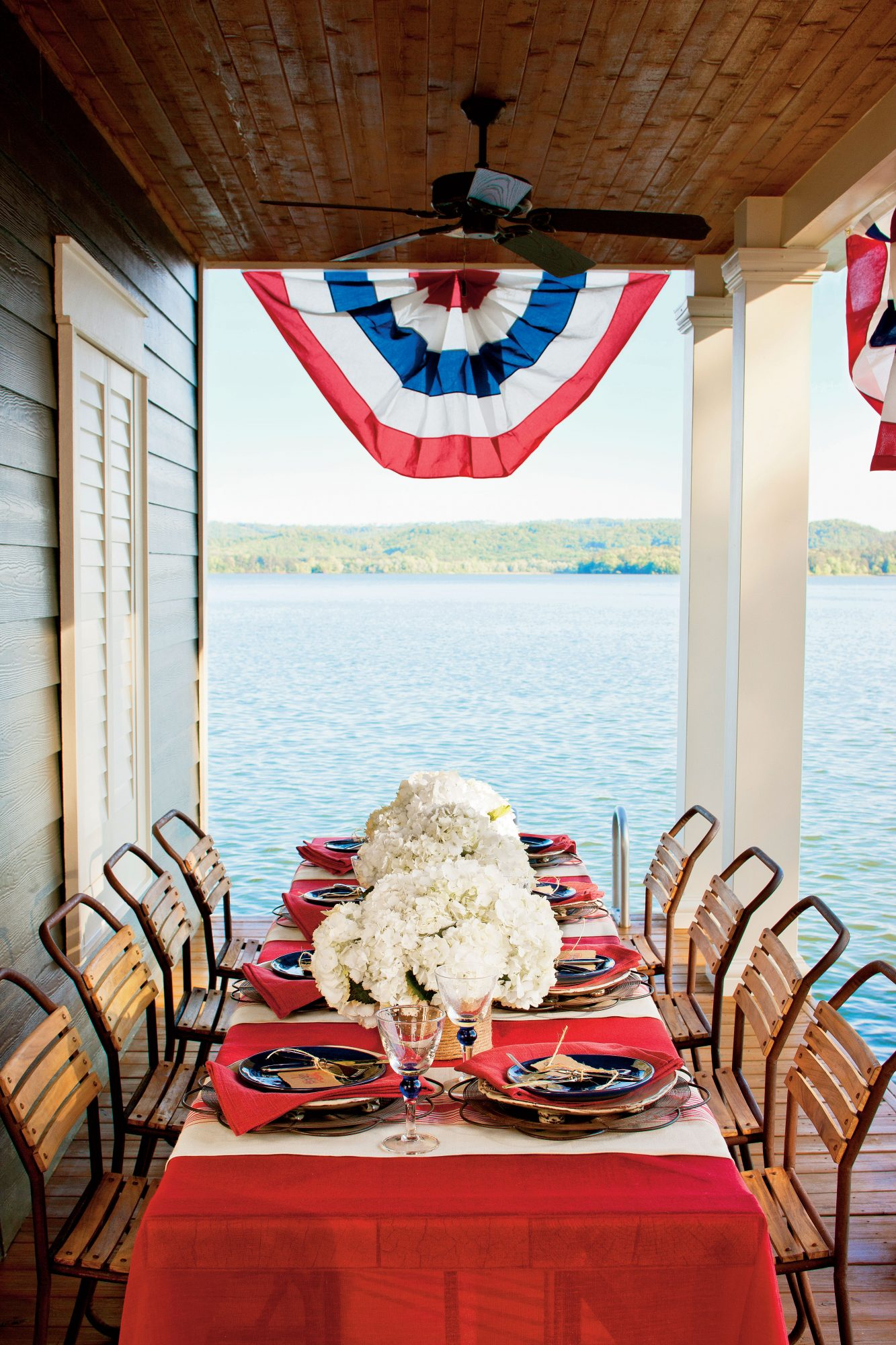 Patriotic Lakeside Table Setting