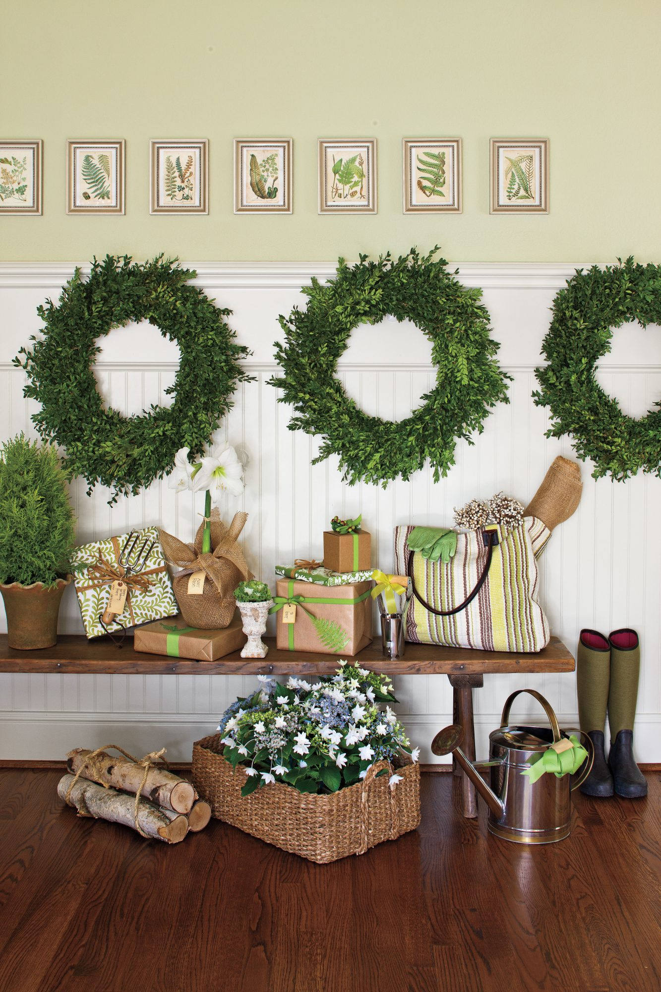 Hang Wreaths on Wainscoting