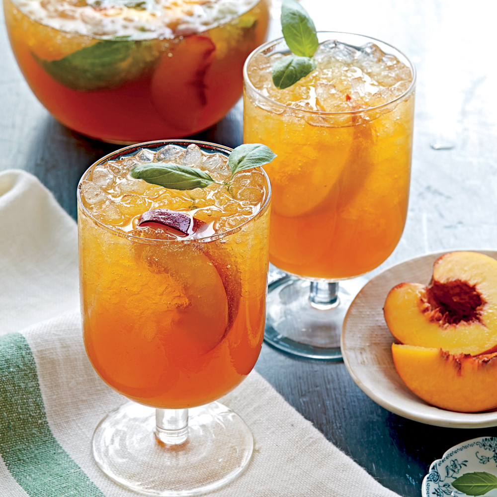 Peach-Basil Iced Tea