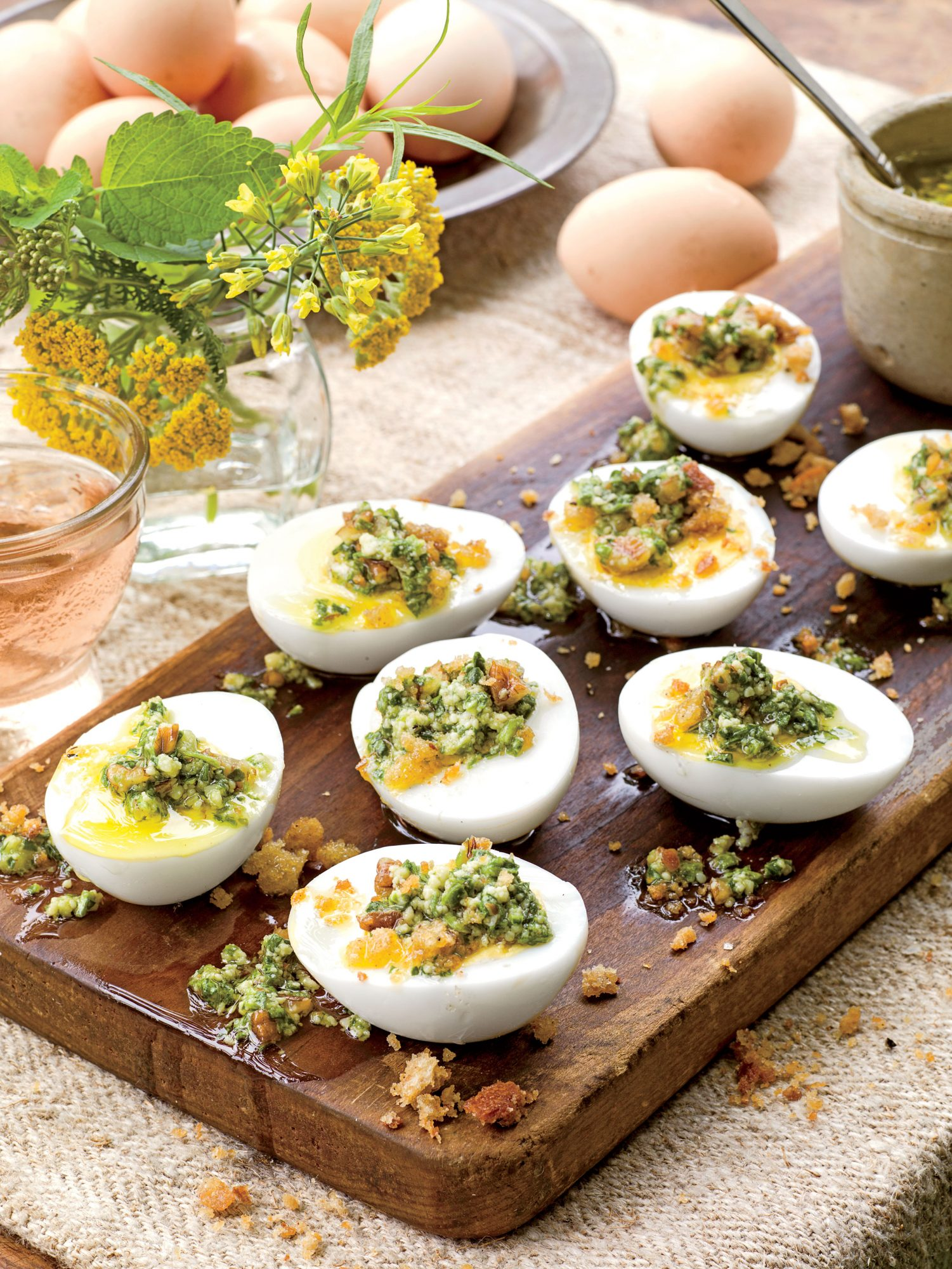 Spinach-and-Three-Herb Pesto Served on Eggs