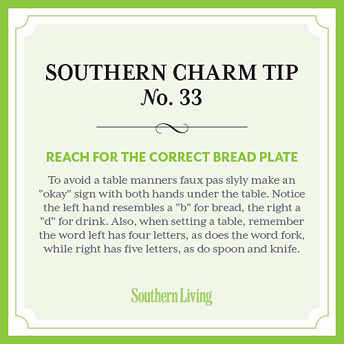Tip #33: Reach for the correct bread plate