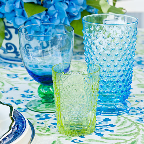 Blue and Green Glassware